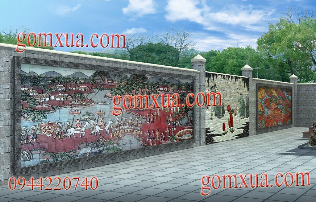 Phối cảnh 3D tranh gốm Phù Lãng trang trí sân vườn