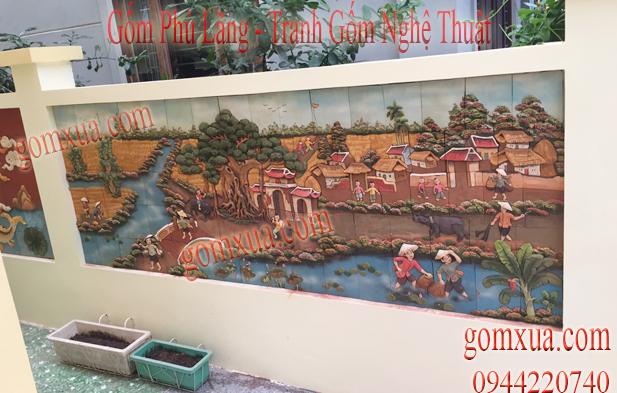 Bức tranh đồng quê thể hiện cảnh bắt cá dân dã