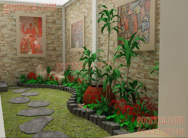 Mẫu tranh gốm đẹp trang trí sân vườn