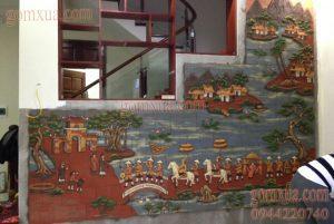 Mẫu tranh gốm ghép mảnh trang trí cầu thang