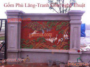 Tranh gốm Tùng - Hạc trang trí sân vườn