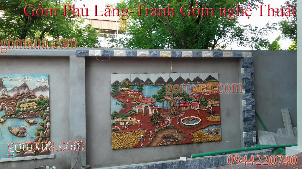 tranh gốm trang trí sân vườn tại Bắc Giang