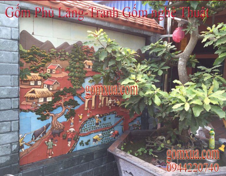 Tranh gốm đắp nổi trang trí sân vườn đẹp nhất