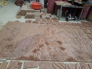 Hình ảnh sản xuất tranh gốm Phù Lãng