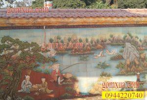 Mẫu tranh gốm đẹp trang trí sân vườn tiểu cảnh