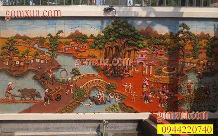 Phong cảnh làng quê Việt Nam được in hình trên nền gốm Phù Lãng