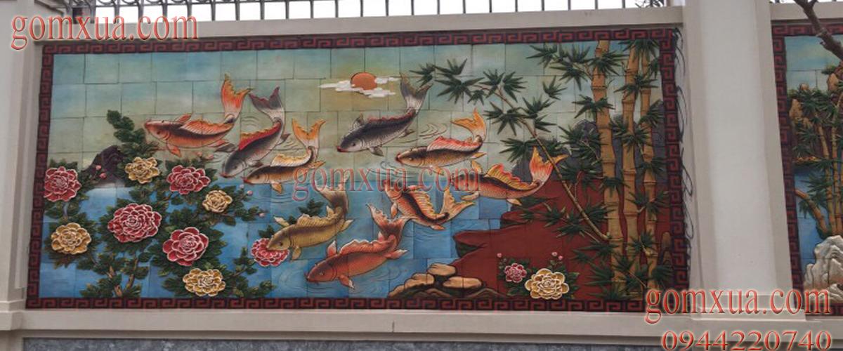 Tranh cá chép và hoa mẫu đơn