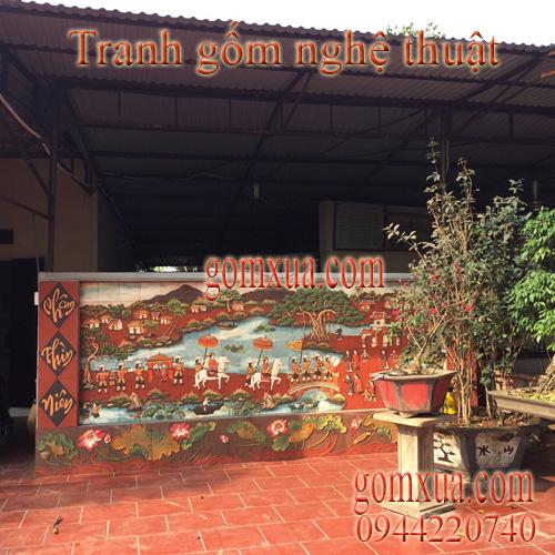 Tranh gốm đẹp trang trí tại đền chúa Thoải - Sơn Tây- Hà Nội