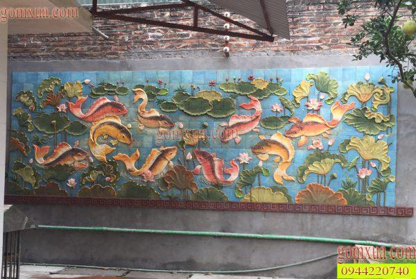 Bức tranh gốm Sen cá đẹp nhất