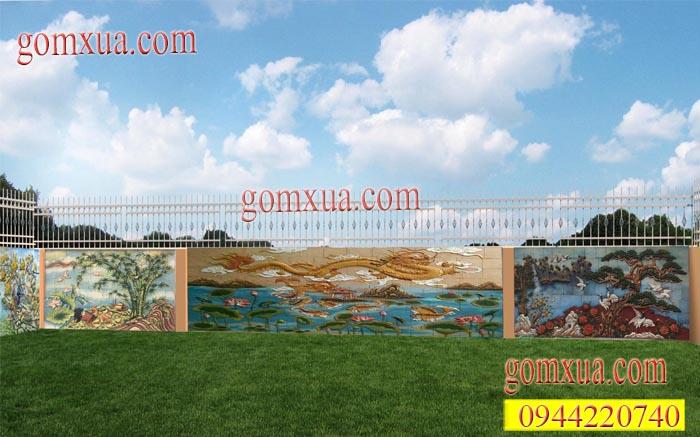 Thiết kế mẫu tranh gốm trang trí sân vườn